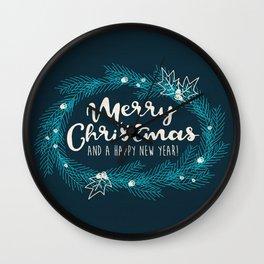 Merry Christmas Blue Wall Clock