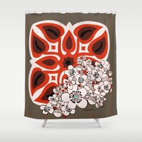 mid century Shower Curtains featuring Mid Century Hawaiian by Vikki Salmela