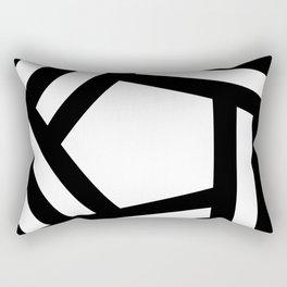 Black white stripey pentagon Rectangular Pillow
