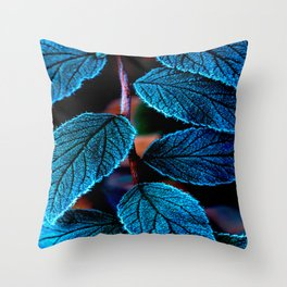 Peacock Blue Leaves Nature Background #decor #society6 #buyart Throw Pillow