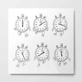 Stopwatch Running Run Cycle Drawing Sequence Metal Print