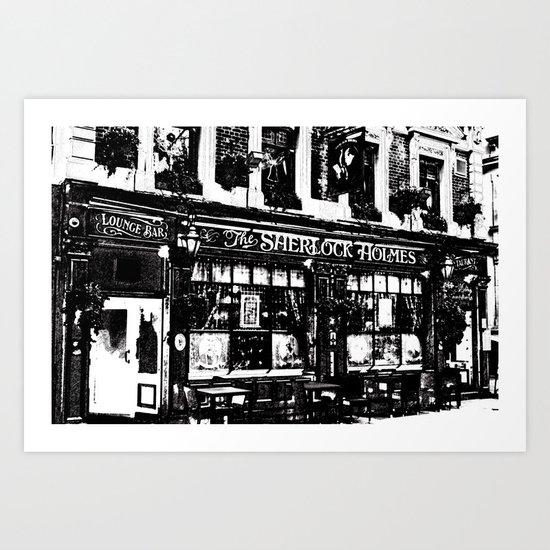 Sherlock Holmes Pub Sketch Art Print
