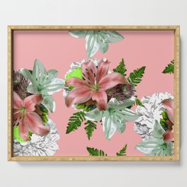 LILY PINK AND WHITE FLOWER Serving Tray