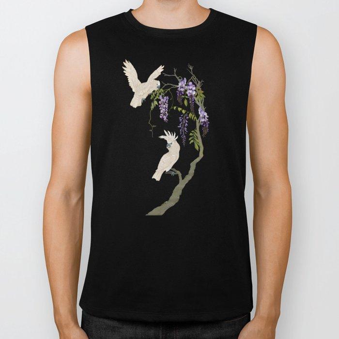 Cockatoos and Wisteria Biker Tank