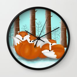 Slepping foxes Wall Clock