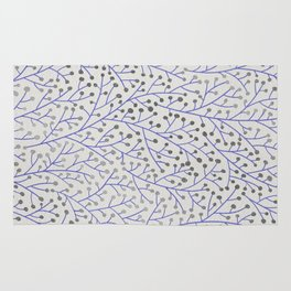 Silver & Periwinkle Berry Branches Rug