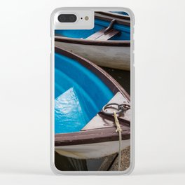 Blue Row Boats Clear iPhone Case