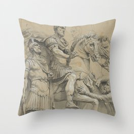 Vintage Marcus Aurelius on Horseback Illustration Throw Pillow