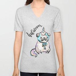 Funny Pug, Unicorn Pug, Funny Dog, Cute Pug, Cute Dog, Puppy dog, Unicorn dog Unisex V-Neck