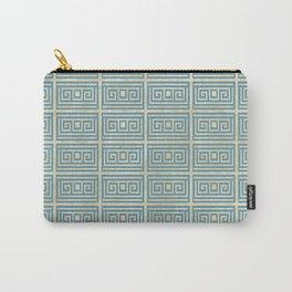 Vintage Blue Tile  Greek Meander Pattern Carry-All Pouch