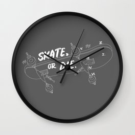 Skate Or Die Drawing Wall Clock