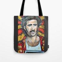 nicolas cage Tote Bags featuring Raising Arizona Nicolas Cage by Portraits on the Periphery