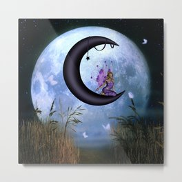Beautiful fairy sitting on the moon Metal Print