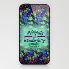 FEARFULLY AND WONDERFULLY MADE Floral Christian Typography God Bible Scripture Jesus Psalm Abstract iPhone & iPod Skin