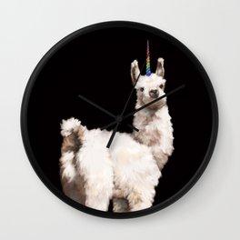 Unicorn Baby Llama in Black Wall Clock