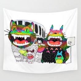 Totoro fan art (cat bus) by Luna Portnoi Wall Tapestry