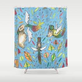 fall leaf fairies Shower Curtain