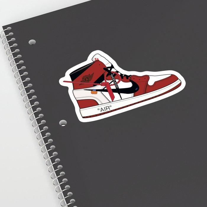 e0f6d575624a Jordan I X Off White Sticker By Showmetype Society6