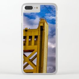 Black birds flying to a yellow tower Clear iPhone Case