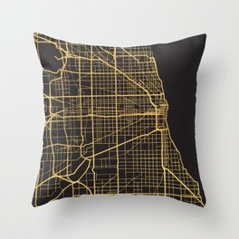 CHICAGO ILLINOIS GOLD ON BLACK CITY MAP Throw Pillow