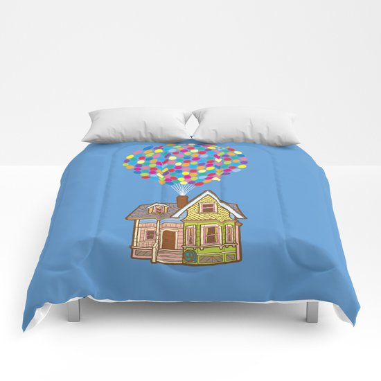 Up House with Balloons Comforters