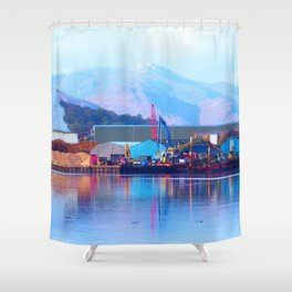 Industrial reflection at mountains edge Shower Curtain