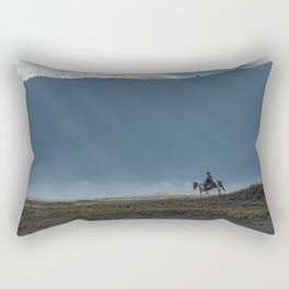 The lonely horse rider at Bromo, East Java, Indonesia Rectangular Pillow