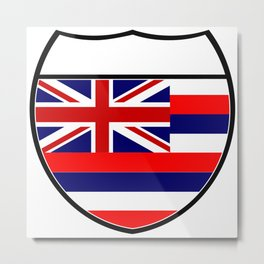 Hawaii Flag In An Interstate Sign Metal Print