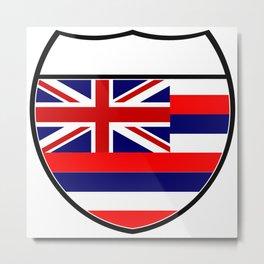 Hawaii Flag In An Interstate Sign Metal Print
