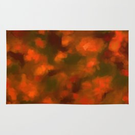 Red, Orange Floral Abstract Rug