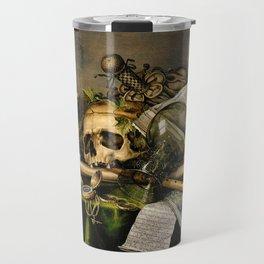 Vintage Vanitas- Still Life with Skull Travel Mug