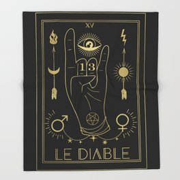 Le Diable or The Devil Tarot Gold Throw Blanket