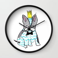 frenchie Wall Clocks featuring Frenchie by Ninotchka Beavers