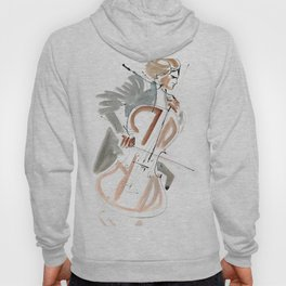 Cello Player Musician Expressive Drawing Hoody