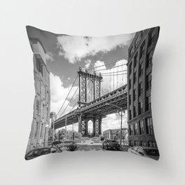NEW YORK CITY Manhattan Bridge | Monochrome Throw Pillow