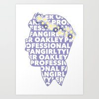 tyler oakley Art Prints featuring Professional fangirl Tyler Oakley by ElectricShotgun
