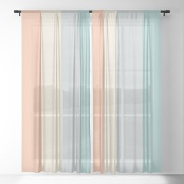 striped color pattern - red , orange, grey, green, Sheer Curtain
