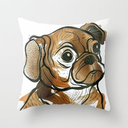Tea Pug Puppy Throw Pillow