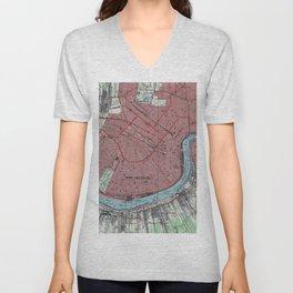 Vintage Map of New Orleans Louisiana (1954) Unisex V-Neck