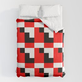 Red black step pattern Duvet Cover