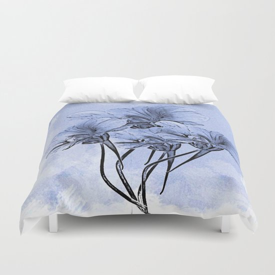 Painterly Blue Floral Duvet Cover