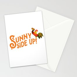 """""""Sunny Side Up"""" Funny Rooster Typography Art Stationery Cards"""