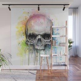 Skull Rainbow Watercolor Wall Mural