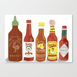 Spicy Hot Sauce Collection Canvas Print
