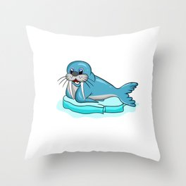 Don't Be Seal-y Funny Seal Silly Animal Pun Throw Pillow