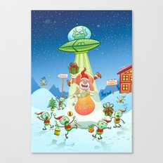 Santa Claus Abducted by a UFO just before Christmas Canvas Print