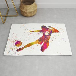 Soccer player isolated 06 in watercolor Rug
