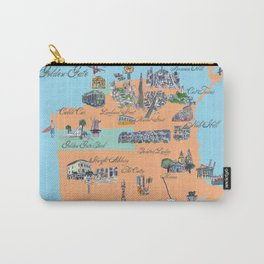 San Francisco Fine Art Print Retro Vintage Favorite Map with Touristic Highlights Active Carry-All Pouch