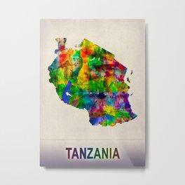Tanzania Map in Watercolor Metal Print