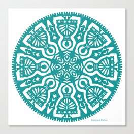 Polish Papercut Dancers Teal Canvas Print
